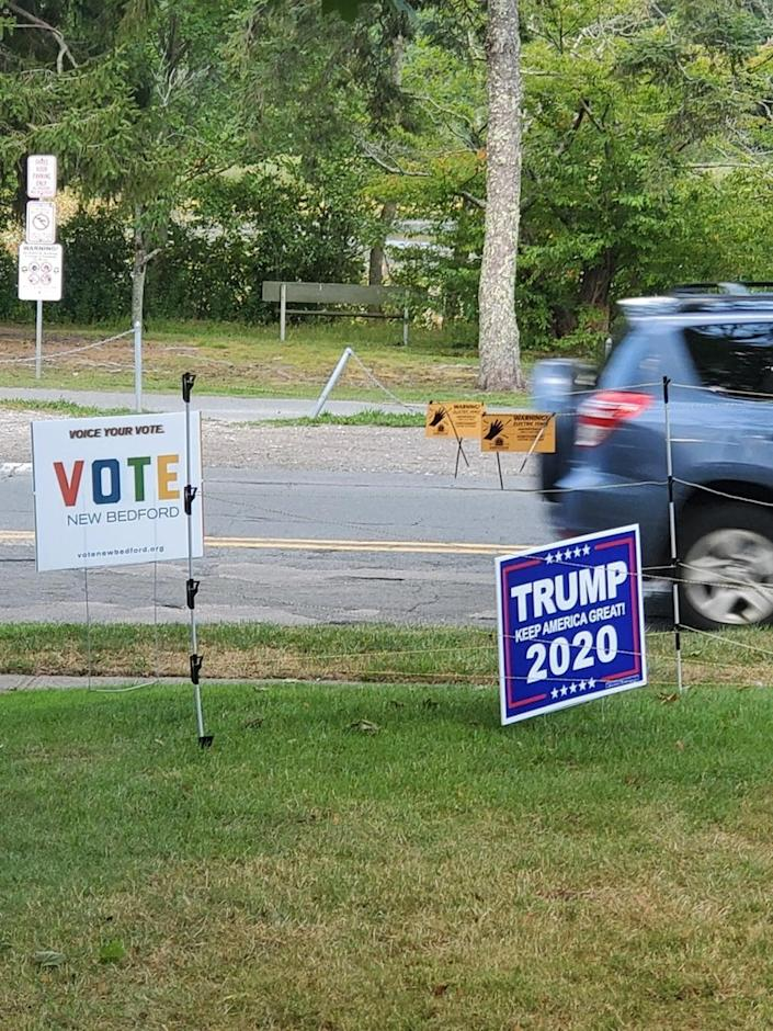 New Bedford School Committee member John Oliveira has erected an electric fence to protect a Trump campaign sign outside his West End home after he says the sign was stolen repeatedly.