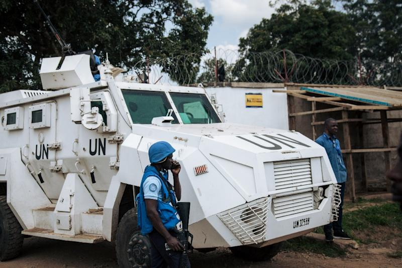 Protection: A MONUSCO armoured vehicle guarding the Ebola response headquarters in the violence-torn eastern city of Beni (AFP Photo/ALEXIS HUGUET)