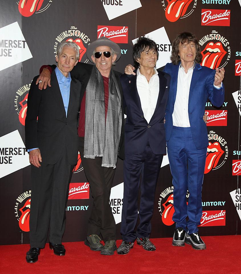 LONDON, ENGLAND - JULY 12:  L-R Charlie Watts, Keith Richards, Ronnie Wood and Mick Jagger attend as The Rolling Stones celebrate their 50th anniversary with an exhibition at Somerset House on July 12, 2012 in London, England.  (Photo by Chris Jackson/Getty Images)