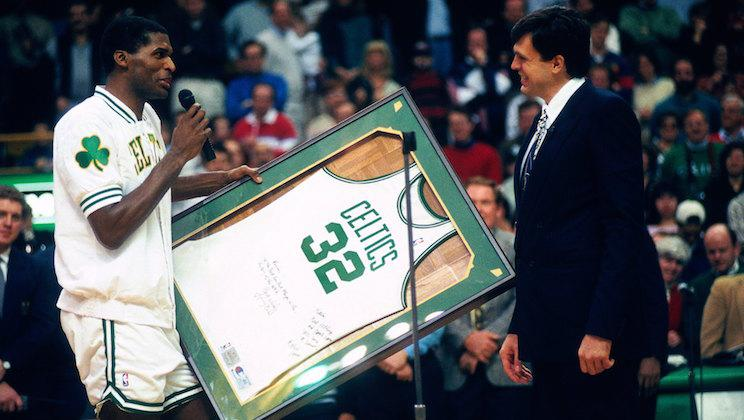 Robert Parish and Kevin McHale both have their numbers in the Garden rafters. (Getty Images)