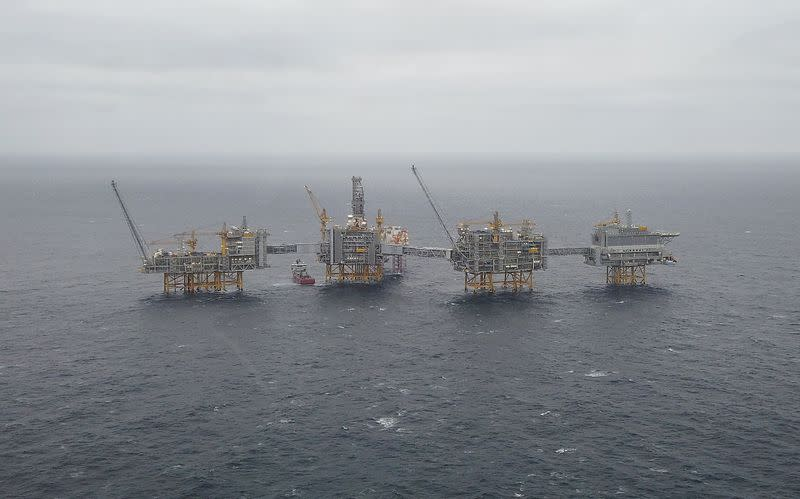 FILE PHOTO: General view of Equinor's Johan Sverdrup oilfield platforms in the North Sea, Norway
