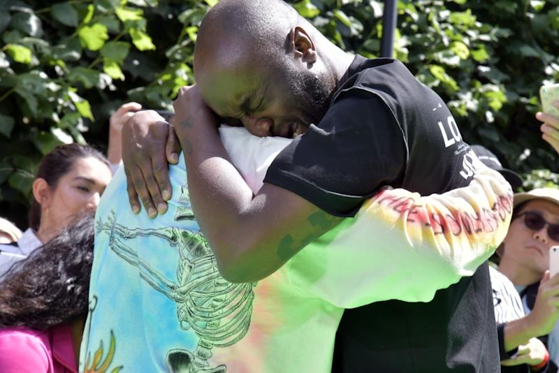 f37f6692414 Virgil Abloh and Kanye West Share Emotional Moment in the Front Row ...
