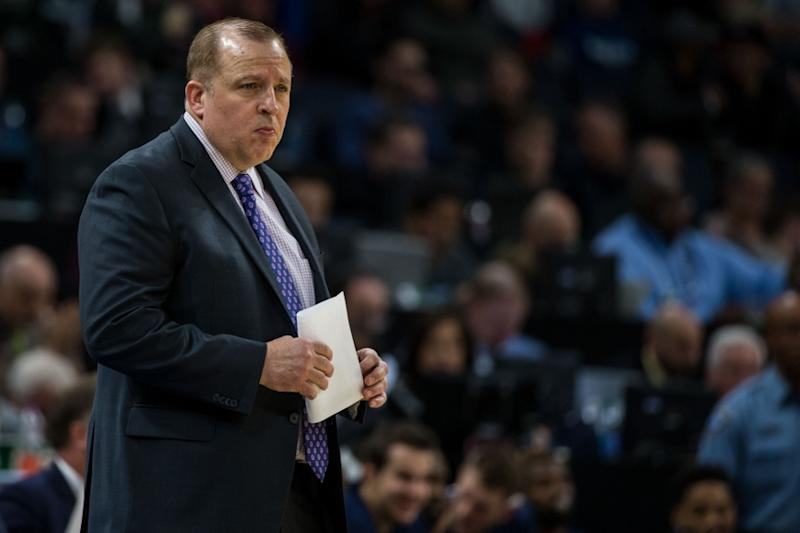 Tom Thibodeau looks on during Timberwolves game
