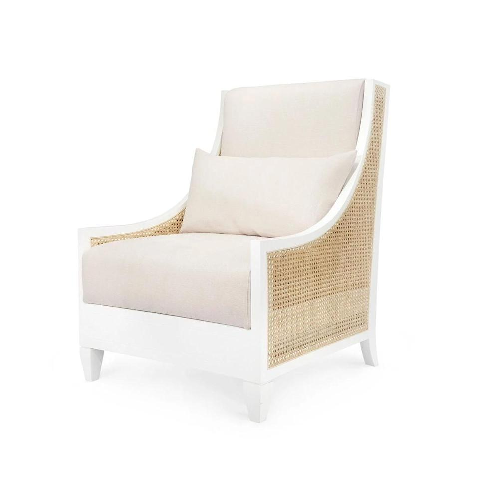 "<p><strong>Bungalow 5</strong></p><p>claytongrayhome.com</p><p><strong>$1733.00</strong></p><p><a href=""https://claytongrayhome.com/collections/all/products/bungalow-5-raleigh-club-chair-white"" rel=""nofollow noopener"" target=""_blank"" data-ylk=""slk:Shop Now"" class=""link rapid-noclick-resp"">Shop Now</a></p><p>An updated take on a traditional French bergère, the Raleigh club chair by Bungalow 5 is made of a fresh white lacquered mahogany and features hand-tied, bleached cane sides.</p>"
