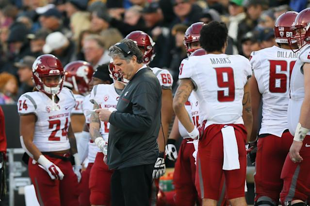 "Maybe Mike Leach's play-sheet should include ""don't tweet doctored videos of political speeches."" (Photo by Justin Edmonds/Getty Images)"