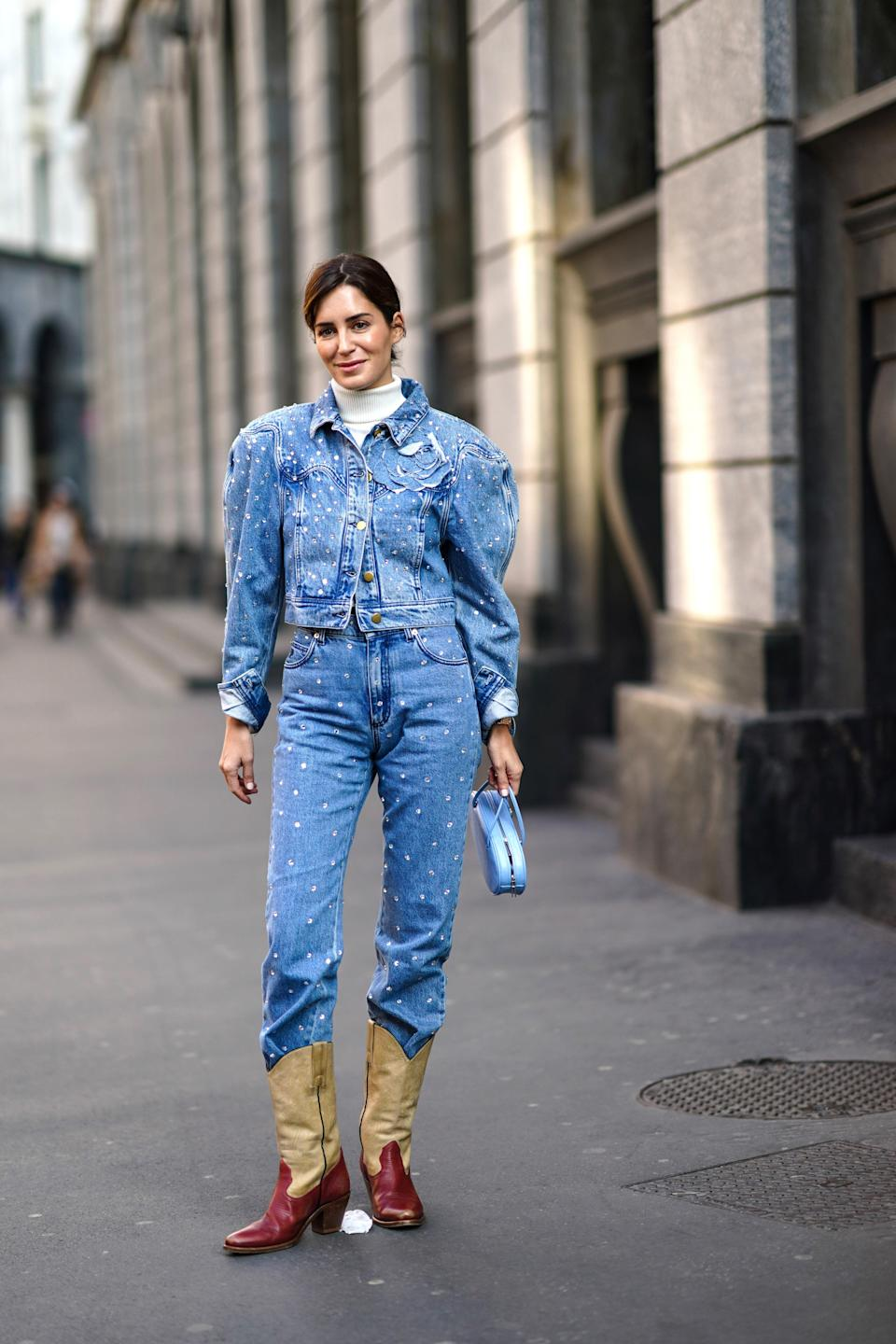 Go all in with a pair of cowboy boots and a classic-looking Canadian tux.