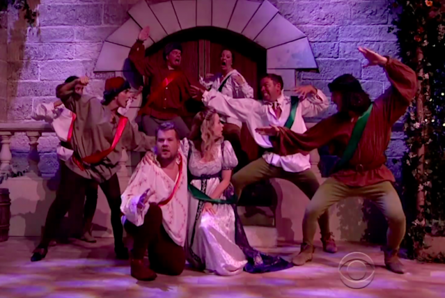 "The Montagues and Capulets square off to the tune of ""Kung Fu Fighting"" in a pop-music version of <em>Romeo and Juliet</em> on <em>The Late Late Show</em>. (Photo: CBS)"