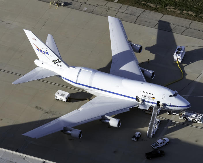 United States of America, California: SOFIA, NASA's Boeing 747SP-21 for Stratospheric Observatory for Infrared Astronomy, parked at Palmdale Regional Airport