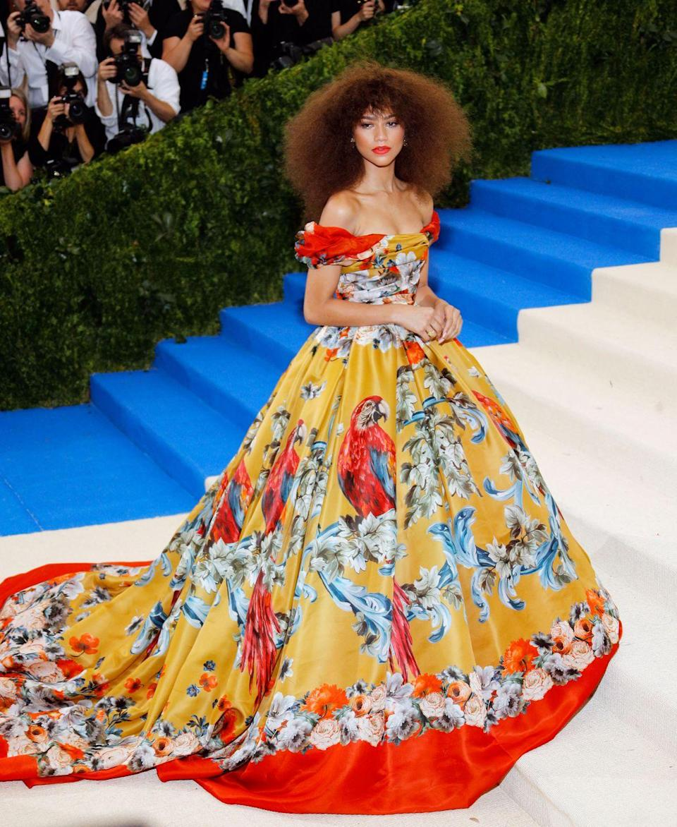 <p>What did we say about Z and Met Galas? She doesn't miss. The bright Dolce & Gabbana gown she donned in 2017 made it seem like she was a canvas painting come to life on the red carpet. </p>