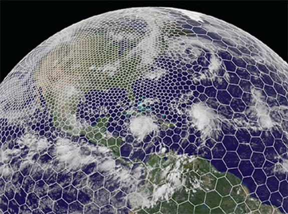 "The variable-mesh <a href=""http://nar.ucar.edu/2013/ncar/spanning-globe-high-resolution-weather-forecast-model"" target=""_blank"">MPAS</a> grid can be customized to feature higher resolution where added detail is desired, as illustrated here for"