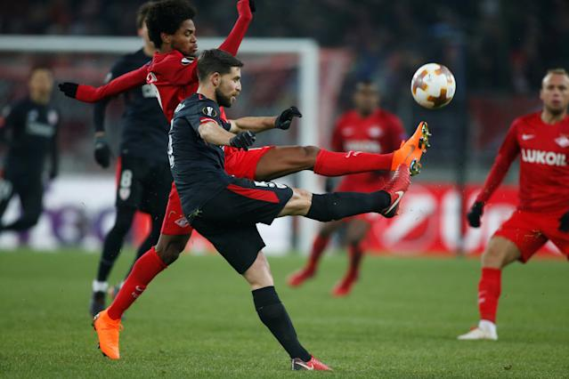 Soccer Football - Europa League Round of 32 First Leg - Spartak Moscow vs Athletic Bilbao - Otkrytiye Arena, Moscow, Russia - February 15, 2018 Athletic Bilbao's Yeray in action with Spartak Moscow's Luiz Adriano REUTERS/Maxim Shemetov