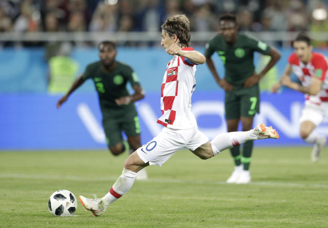 Croatia's Luka Modric, kicks a penalty during the group D match between Croatia and Nigeria at the 2018 soccer World Cup in the Kaliningrad Stadium in Kaliningrad, Russia, Saturday, June 16, 2018. (AP Photo/Petr David Josek)