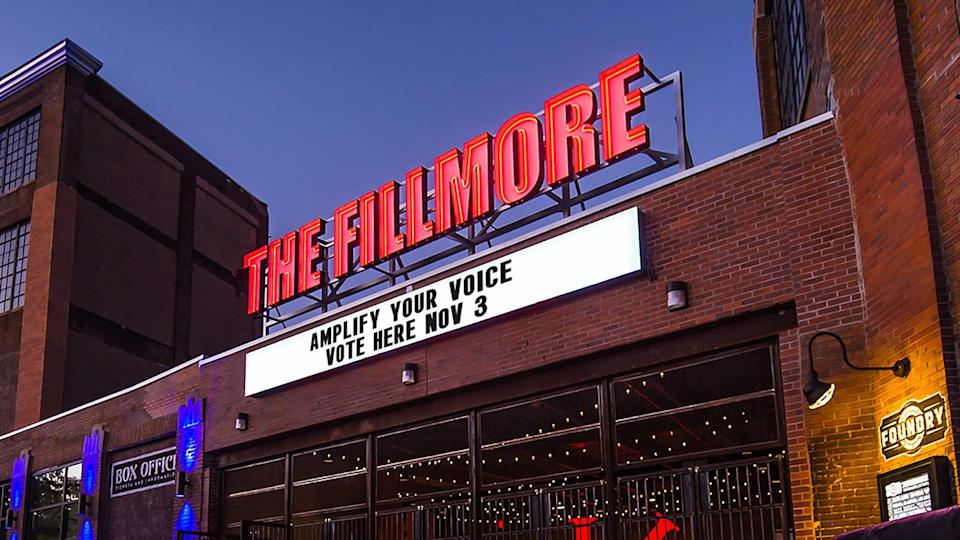 The marquee of the Fillmore Philadelphia displays a voting message ahead of the Nov. 3 elections.