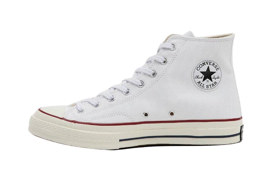 """$85, Need Supply. <a href=""""https://needsupply.com/chuck-taylor-70-high-sneaker-in-white/M104157.html"""" rel=""""nofollow noopener"""" target=""""_blank"""" data-ylk=""""slk:Get it now!"""" class=""""link rapid-noclick-resp"""">Get it now!</a>"""