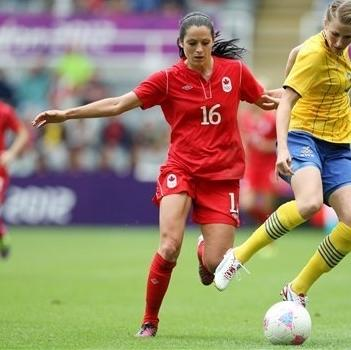 Sweden's Emma Berglund, right, vies for the ball with Canada's Jonelle Filigno, left, during the group F women's soccer match at St James' Park in Newcastle, England, during the London 2012 Summer Olympics, Tuesday, July 31, 2012. (AP Photo/Scott Heppell)