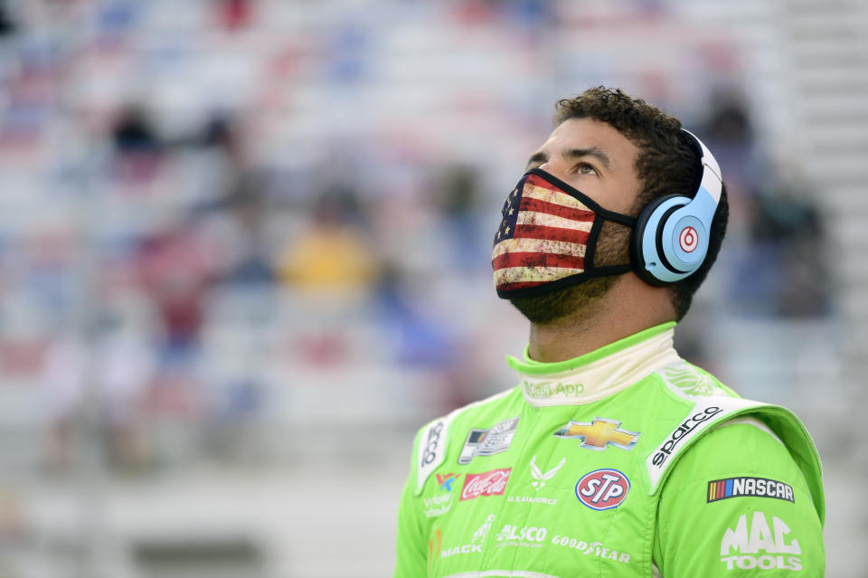 BRISTOL, TENNESSEE - SEPTEMBER 19: Bubba Wallace, driver of the #43 Cash App Chevrolet, stands on the grid prior to the NASCAR Cup Series Bass Pro Shops Night Race at Bristol Motor Speedway on September 19, 2020 in Bristol, Tennessee. (Photo by Jared C. Tilton/Getty Images)
