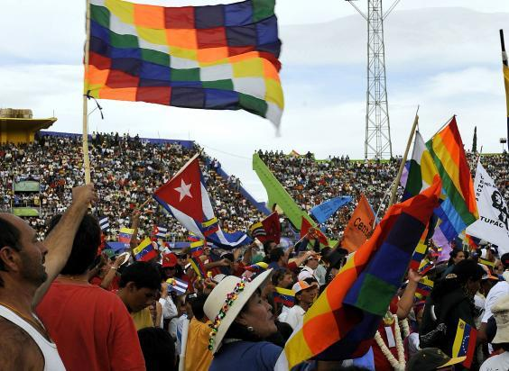 People from over one hundred countries participate in a World Climate Change Conference at the Feliz Capriles stadium in Cochabamba, Bolivia on April 22, 2010 (AIZAR RALDES/AFP via Getty Images)