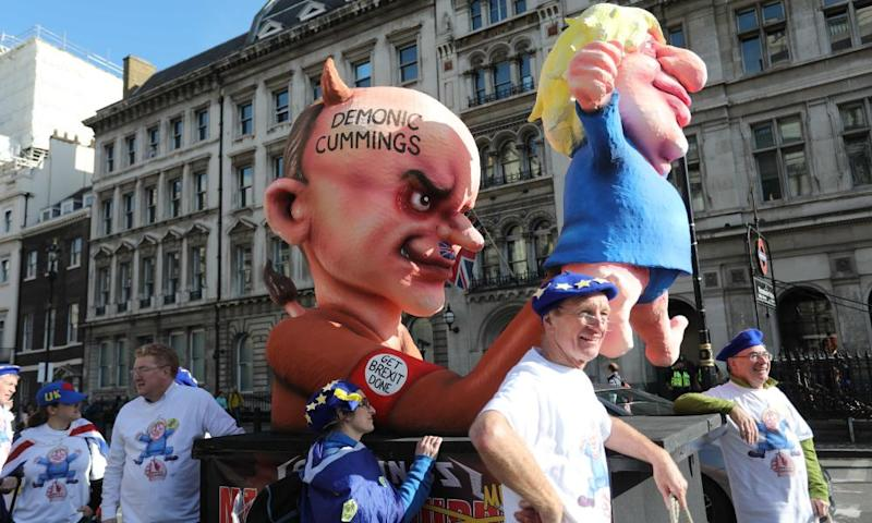 An effigy depicting Boris Johnson as a puppet operated by his adviser Dominic Cummings.