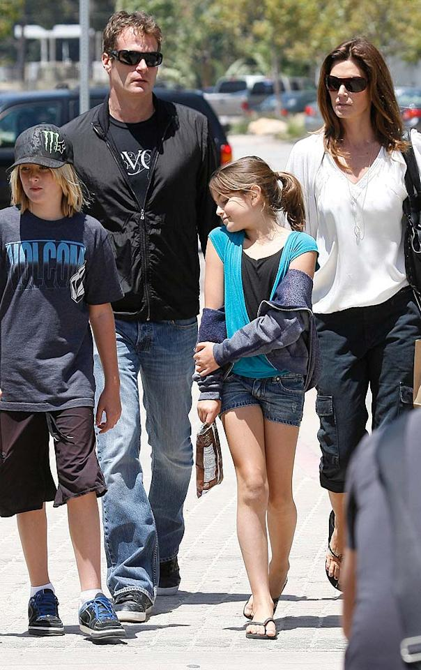"""Also hanging in the 'Bu? Cindy Crawford, her hubby Rande Gerber, and their kids, Presley and Kaia. Looks like Kaia, 8, already knows how to strike a pose like her mom! Gros/<a href=""""http://www.x17online.com"""" target=""""new"""">X17 Online</a> - May 22, 2010"""