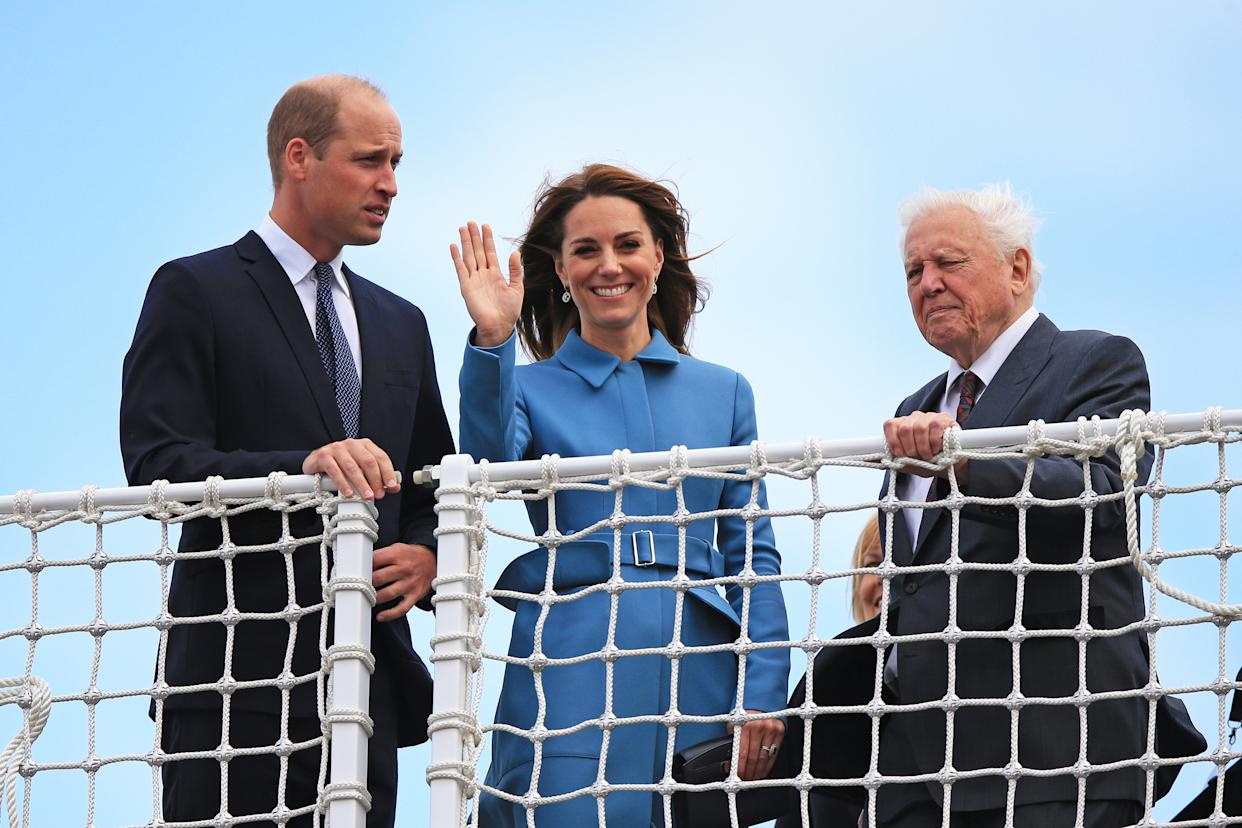 The Duke and Duchess of Cambridge join Sir David Attenborough for the naming ceremony of the polar research ship in Birkenhead [Photo: Getty Images]