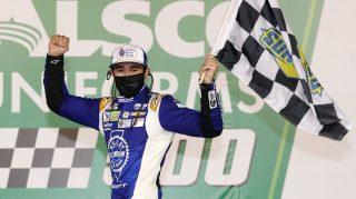 Chase Elliott after winning Thursday's Cup Series race at Charlotte. (Photo by Chris Graythen/Getty Images)