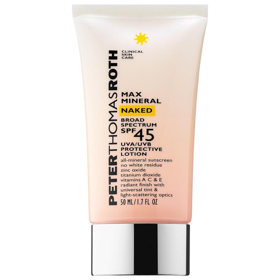 """<p><strong>Peter Thomas Roth</strong></p><p>sephora.com</p><p><strong>$38.00</strong></p><p><a href=""""https://go.redirectingat.com?id=74968X1596630&url=https%3A%2F%2Fwww.sephora.com%2Fproduct%2Fmax-mineral-naked-broad-spectrum-spf-45-P430812&sref=https%3A%2F%2Fwww.prevention.com%2Fbeauty%2Fskin-care%2Fg27632513%2Fbest-sunscreen-for-acne%2F"""" rel=""""nofollow noopener"""" target=""""_blank"""" data-ylk=""""slk:Shop Now"""" class=""""link rapid-noclick-resp"""">Shop Now</a></p>"""