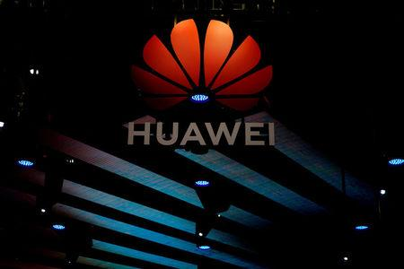 Huawei logo is pictured during the media day for the Shanghai auto show in Shanghai