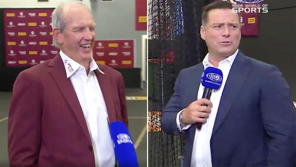 Karl Stefanovic is pictured here interviewing Maroons coach Wayne Bannett.