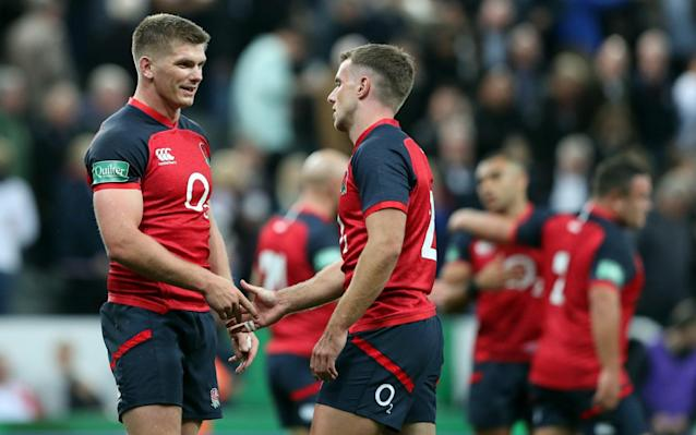 Owen Farrell and George Ford celebrate England's warm-up win over Italy - now it's time for the real thing - REUTERS