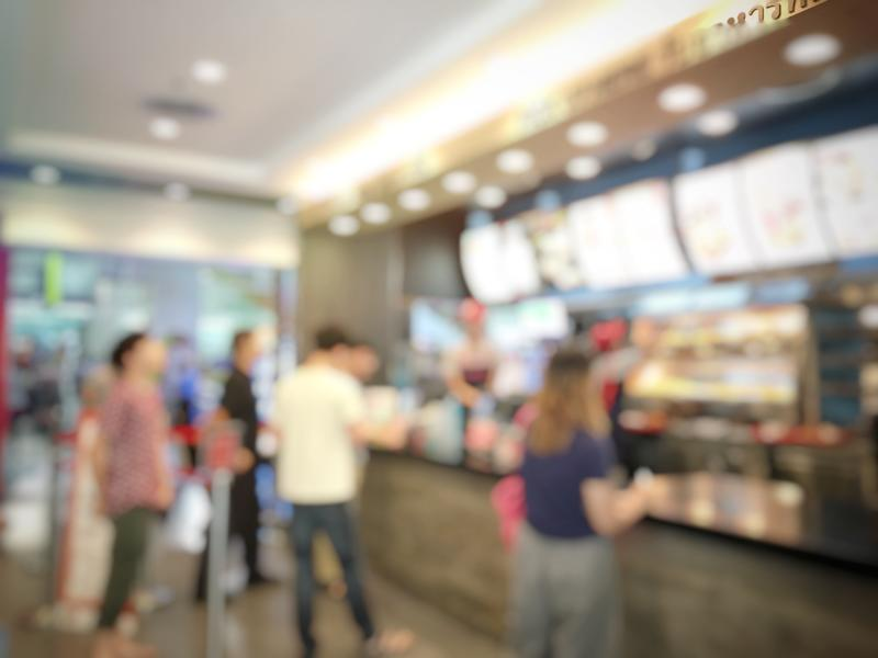 A blurred image of a fast-food restaurant
