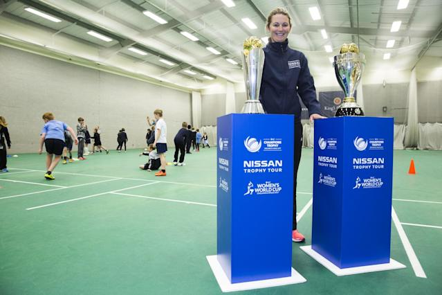 Former England skipper Charlotte Edwards took the ICC Women's World Cup and Nissan Trophy on the road