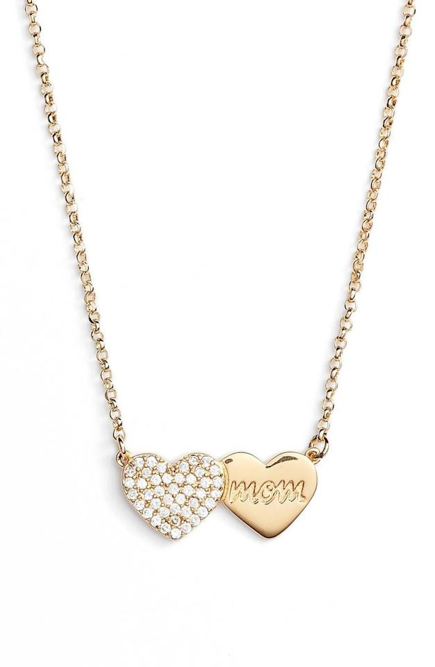 """<p><em>$58</em></p><p><a rel=""""nofollow"""" href=""""https://shop.nordstrom.com/s/kate-spade-new-york-mom-knows-best-pave-heart-necklace/4886506"""">SHOP NOW</a><br></p><p>Give mom a piece of jewelry that is not only sentimental but is also beautiful. </p>"""