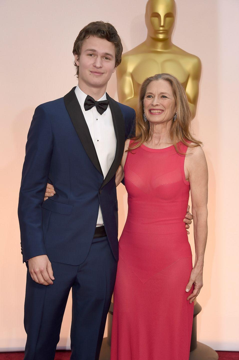 <p>As if he couldn't get any cuter, Ansel brought his mom, producer Grethe Barrett Holby, to his first appearance at the Oscars in the 2015. </p>