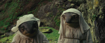 """<p>During Rey's time on Ahch-To, she meets <a rel=""""nofollow noopener"""" href=""""http://ew.com/movies/2017/08/09/star-wars-last-jedi-porgs-caretakers/"""" target=""""_blank"""" data-ylk=""""slk:the island's caretakers"""" class=""""link rapid-noclick-resp"""">the island's caretakers</a>, described by director Rian Johnson as """"these sort of fish-bird type aliens"""" who speak """"a blubbery sort of Scottish fish talk.""""<br>(Credit: Lucasfilm) </p>"""