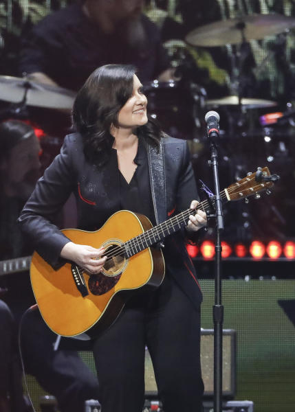 FILE - This April 1, 2019 file photo shows Brandy Clark performing at Loretta Lynn's 87th Birthday Tribute in Nashville, Tenn. What started as a joke on Twitter about an unwritten rule among country radio stations not to play two female artists in a row prompted outrage by country music stars, but also pledges to give women equal airtime. CMT announced on Tuesday, Jan. 21, 2020, that they would institute equal airplay for female artists across their two channels. And a country radio station in Ontario, Canada, started an equal play initiative for one week, pledging to split the airplay time 50-50 between men and female voices. (Photo by Al Wagner/Invision/AP, File)
