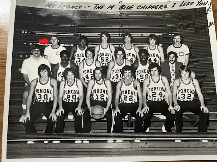 Gregg Popovich, top row, far left, went 2-22 as a first-year Pomona-Pitzer coach.