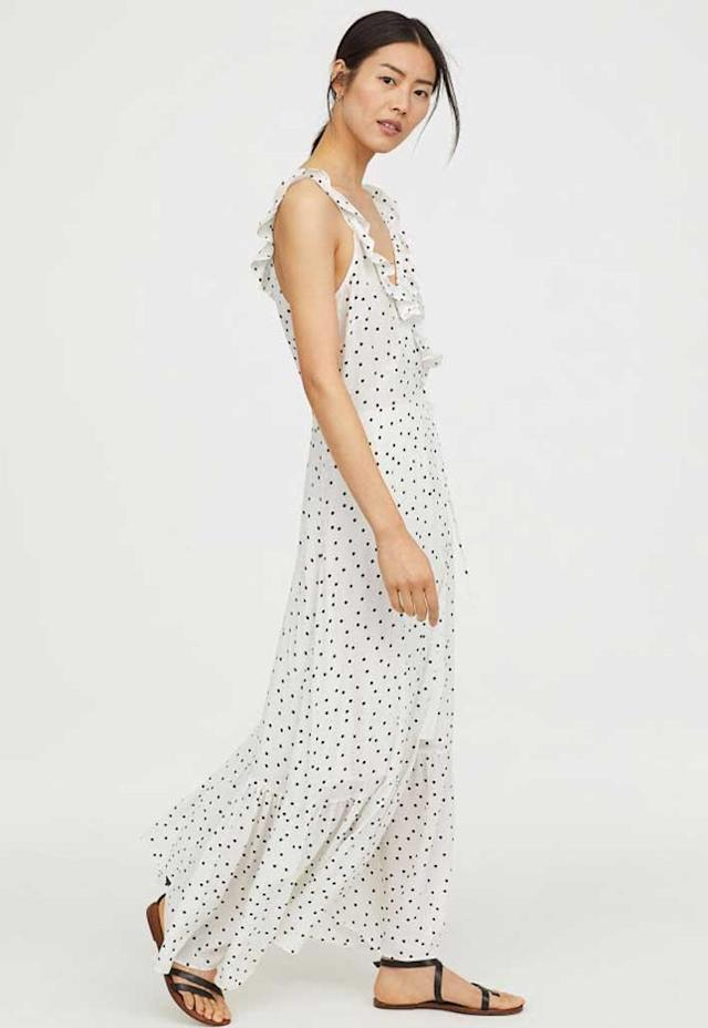 White ruffled polka dot maxi dress. (Photo: H&M)