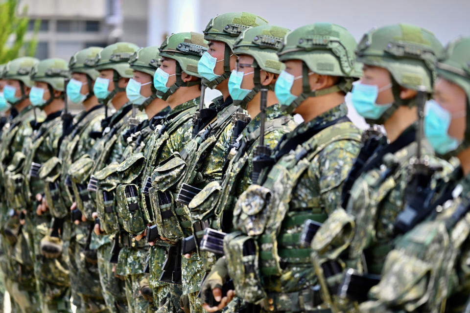 Taiwanese soldiers pictured standing at attention.