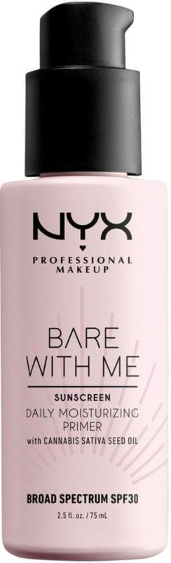 """<p>People are completely obsessed with the <a href=""""https://www.popsugar.com/buy/NYX-Professional-Makeup-Bare-Me-Cannabis-Sativa-Daily-Moisturizing-Primer-SPF-30-576758?p_name=NYX%20Professional%20Makeup%20Bare%20With%20Me%20Cannabis%20Sativa%20Daily%20Moisturizing%20Primer%20SPF%2030&retailer=ulta.com&pid=576758&price=17&evar1=bella%3Aus&evar9=41810731&evar98=https%3A%2F%2Fwww.popsugar.com%2Fbeauty%2Fphoto-gallery%2F41810731%2Fimage%2F47575582%2FNYX-Professional-Makeup-Bare-With-Me-Cannabis-Sativa-Daily-Moisturizing-Primer-SPF-30&list1=makeup%2Cbeauty%20products%2Cbeauty%20shopping%2Cnyx&prop13=api&pdata=1"""" class=""""link rapid-noclick-resp"""" rel=""""nofollow noopener"""" target=""""_blank"""" data-ylk=""""slk:NYX Professional Makeup Bare With Me Cannabis Sativa Daily Moisturizing Primer SPF 30"""">NYX Professional Makeup Bare With Me Cannabis Sativa Daily Moisturizing Primer SPF 30</a> ($17). It protects against UVA and UVB rays, preps the skin for makeup application, and is infused with cannabis sativa seed oil for soothing hydration. </p>"""