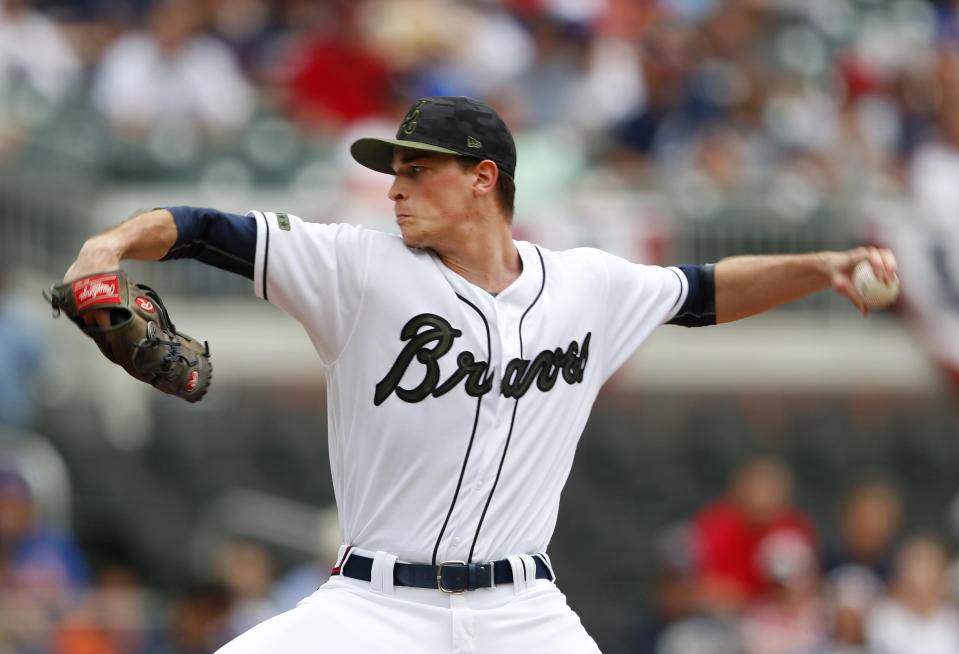 Atlanta Braves starting pitcher Max Fried works in the first inning of a baseball game against the New York Mets, Monday, May 28, 2018, in Atlanta. (AP Photo/John Bazemore)