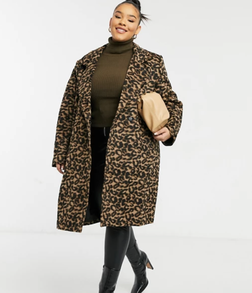 Wednesday's Girl Curve Tailored Coat in Leopard Print (Photo via ASOS)
