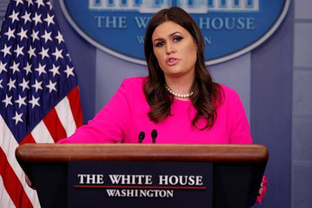 White House press secretary Sarah Sanders holds the daily briefing at the White House in Washington on Oct. 10, 2017. (Photo: Reuters/Jonathan Ernst)