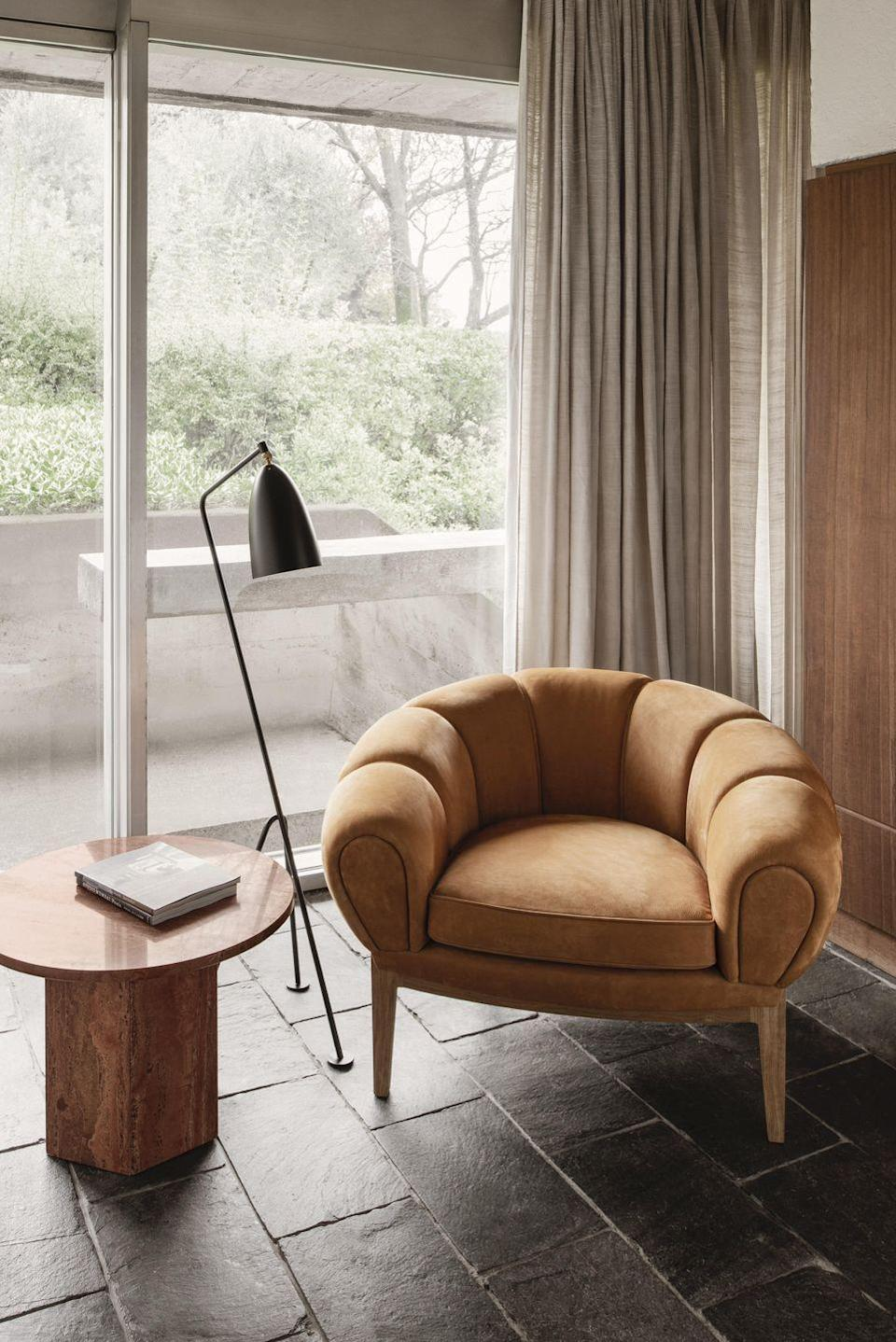 """<p>Created in 1962 and now reissued by Gubi, Wikkelsø's playful 'Croissant chair' (so named for obvious reasons) spoke to his belief that furniture should be comfortable from whatever angle you sit or lie on it. The design's exaggerated, generously padded form fits perfectly with today's fascination for curvy, chunky pieces, as does its decidedly 70s palette. From £2,794, <a href=""""https://chaplins.co.uk/"""" rel=""""nofollow noopener"""" target=""""_blank"""" data-ylk=""""slk:chaplins.co.uk"""" class=""""link rapid-noclick-resp"""">chaplins.co.uk</a></p>"""