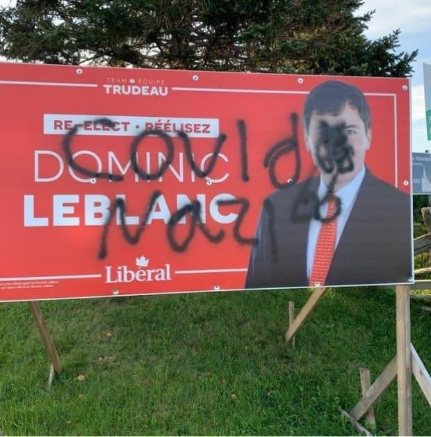 After a campaign sign was vandalized, Liberal candidate Dominic LeBlanc posted on Instagram that it is