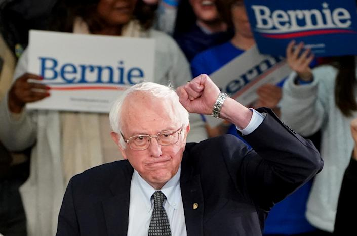 Democratic presidential candidate Senator Bernie Sanders arrives to speak at a rally at the Drake University Olmsted Center in Des Moines, Iowa, U.S., February 3, 2020. REUTERS/Carlo Allegri     TPX IMAGES OF THE DAY