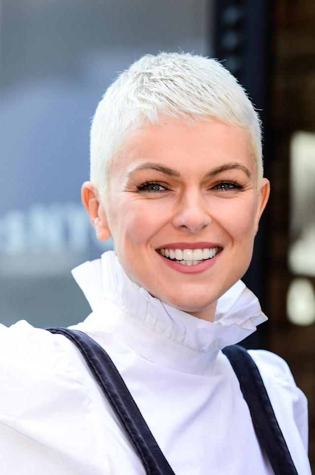 <p>Talk about a movie makeover! <em>Inhumans</em> actress Serinda Swan chopped off her long, brunette locks and is now sporting a platinum pixie cut. (Photo by Ray Tamarra/GC Images) </p>