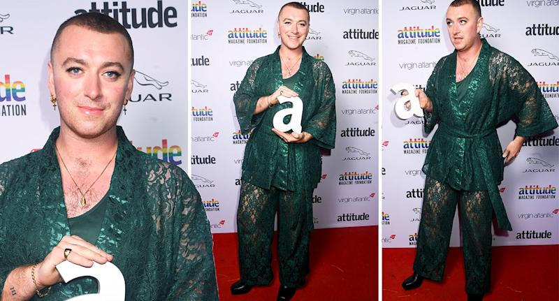 Sam Smith wore lace and silk lingerie for the Attitude Awards. [Photo: Getty]