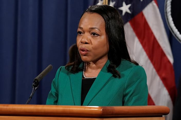 Assistant Attorney General for Civil Rights Kristen Clarke speaks during a news conference where U.S. Attorney General Merrick Garland (not pictured) announced that the Justice Department will file a lawsuit challenging a Georgia election law that imposes new limits on voting, at the Department of Justice in Washington, D.C., U.S., June 25, 2021. (Ken Cedeno/Reuters)