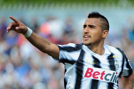 Juventus' Arturo Vidal celebrates after scoring during a Serie A match on April 29. There are 17 places between them in Serie A but Juventus coach Antonio Conte has described Wednesday's visit of lowly Lecce as the most important match of the season