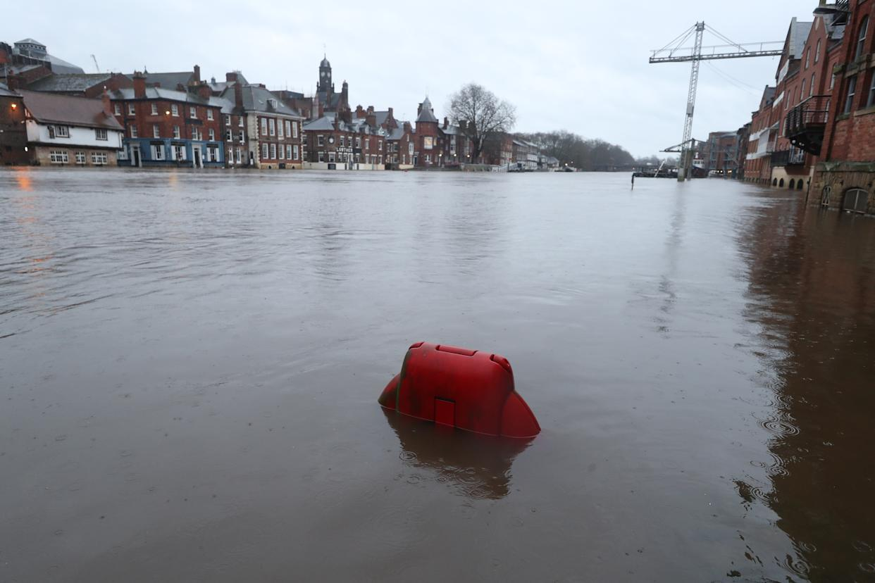 Floodwaters in York, in anticipation of Storm Christoph which is set to bring further flooding, gales and snow to parts of the UK. Heavy rain is expected to hit the UK, with the Met Office warning homes and businesses are likely to be flooded, causing damage to some buildings. Picture date: Wednesday January 20, 2021.